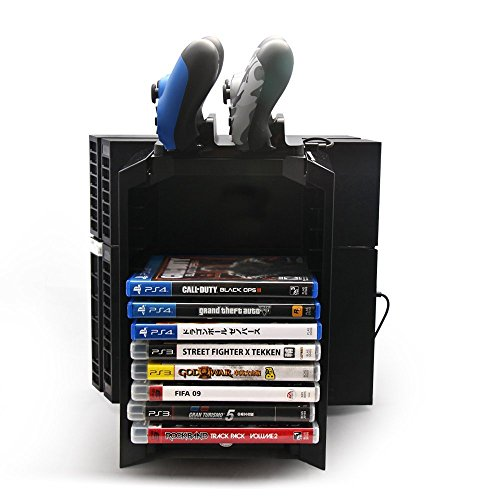 Price comparison product image GAMINGER GAMES TOWER for PlayStation 4 PS4 Console with Charging Station and BluRay Compartment Multi-Purpose Stand