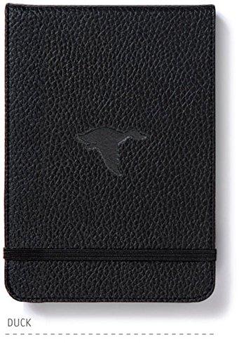 Dingbats* Wildlife A6+ Reporter Hardcover Notizbuch - PU-Leder, Mikroperforiert 100gsm Creme Seiten, Innentasche, Elastisch (Gepunktet, Schwarze Ente)