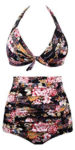 Angerella Retro Halter Neck Polka Dot A vita alta Bikini Costumi da Bagno Nero(Floral)