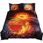 NTBED Brief Housse de couette Lot de 3 pcs de lit Doublesize Parure de lit Lit Parure de lit Lin Basketball sans Drap sans rembourrage Double
