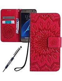 62480d3dfd6534 JAWSEU Coque Etui pour Samsung Galaxy S7 Portefeuille PU Étui Folio en Cuir  à Rabat Magnétique