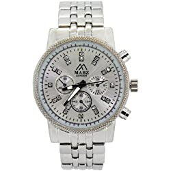Mabz London Ladies Womens Silver Stainless Steel bracelet Watch with decoritive dials and stones / crystals
