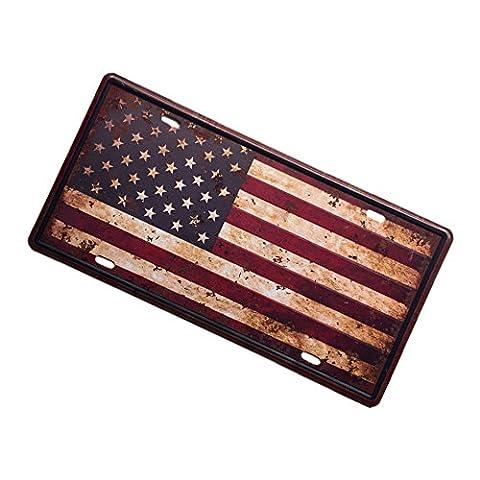 Gazechimp Autokennzeichen Design , Metall Blechschild Blech Schilder Wand Cafe Bar Dekor - Amerikanische Flagge, 15 x 30 cm