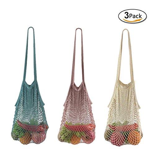 GoldLiiver Einkaufsnetz Netze Tasche Kartoffelsack Wiederverwendbar Einkaufstasche Baumwoll Netzbeutel Obst- und Gemüsebeutel 3er Set (Colourful C)