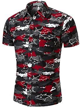 ZKOOO Uomo Estiva Camicie a Maniche Corte Squalo Stampa Camicia Casual Spiaggia Maglietta Shirt Top con Tasca