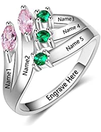 Lam Hub Fong Personalized Mothers Rings with 5 Simulated Birthstones Rings Family Flower Rings for Mothers Rings for 5