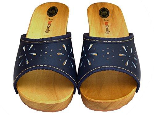 Zoccoli Da Donna Zoccoli In Legno Scarpe In Pelle Muli Con Sandali Con Tacco Colori Colorati Modello Vk10 Blu Navy