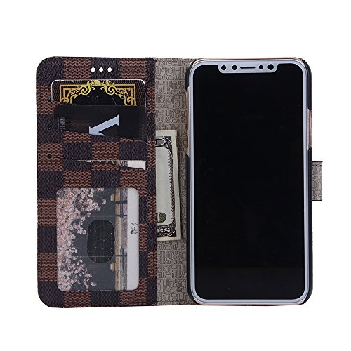 iPhone X Hülle, Valenth Leder Grid Pattern Brieftasche Cover [Card Slots] Protective Hülle Cover für iPhone X Braun