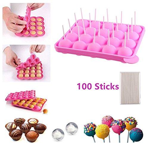 BPA-frei Lollipop Candy Silikon Formen & Ice Cube Tabletts 100 Sticks mufin Kuchen Gumdrop Jelly molds- Rosa (Stick Form)