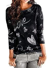 KEERADS Femmes Manche Longue Lettre Love Imprimé Chemise Décontractée Col Rond Chemisier en Vrac Coton Tops T-Shirt