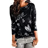 40%-60% Off!Ieason Women's Casual Tops Long Sleeve Letter Printed Shirt Blouse Loose Cotton T-Shirt