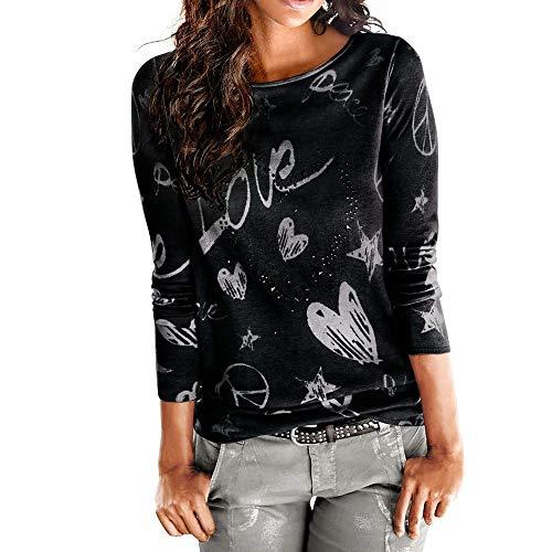 VEMOW Heißer Frauen Damen Sommer Herbst Langarm Brief Gedruckt Hemd Beiläufige Bluse Lose Baumwolle Tops T-Shirt(Schwarz, EU-40/CN-S)