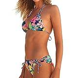 Damen Damen Drei Punkt Hals Printed Bikini-Set, mamum Frauen brasilianisches Bikini Set Neckholder Weste Tops Badeanzug Beach Badeanzug modisch L rot