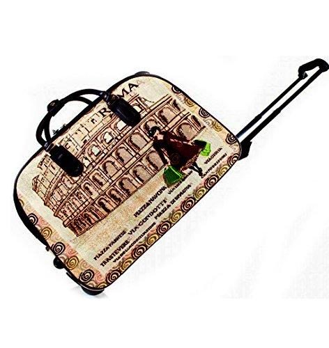 LeahWard® Große Größe Reisetasche Gepäck Reisetasche mit Rad Kabine Hand Taschengage Gym UrlaubWagen Koffer Cream London Bear