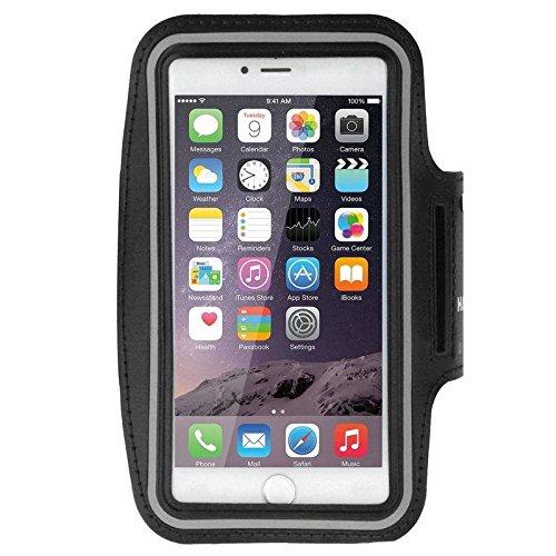 DFV mobile - Armband Berufsausrüstung Armbandtasche Sport Reflektierende Wasserabweisende aus Neopren Premium für=> FREETEL Samurai REI 2 > Schwarz
