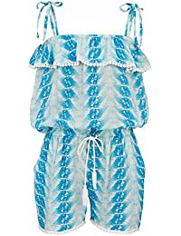 Snapper Rock chica Jumpsuit plumas Azul azul Talla:11-12 Jahre, 152-158cm
