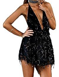 Estate Vestito Donna Senza Schienale Bandage Mini Vestiti Sexy Profondità Giarrettiere  Paillettes Discoteca Corto Abito da c1b85afed88
