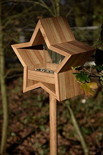 Luxus-Vogelhaus 85075e Stern Design, Ständer aus geöltem Eichenholz, Holz mit Silo, 30 x 14 x 152 cm - 10