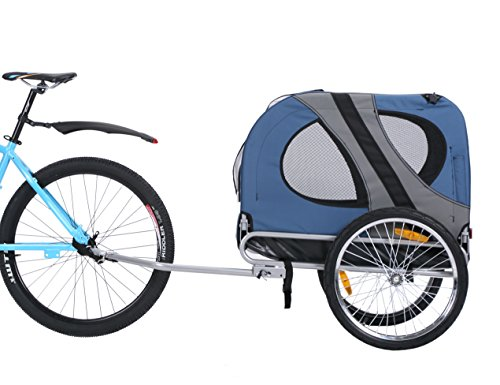 Leonpets Haustier Fahrradanhänger Hundewagen Transporter mit Universalkupplung Blau 10117