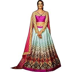 Nirjas Women's Silk & Georgette With Blouse Piece Lehenga Choli (Khawab-502_Pink_Free Size)