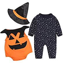 Halloween Disfraz Bebe Ropa Fossen Recién Nacido Niño Niña Calabaza Mono + Sombrero de Bruja 3PC