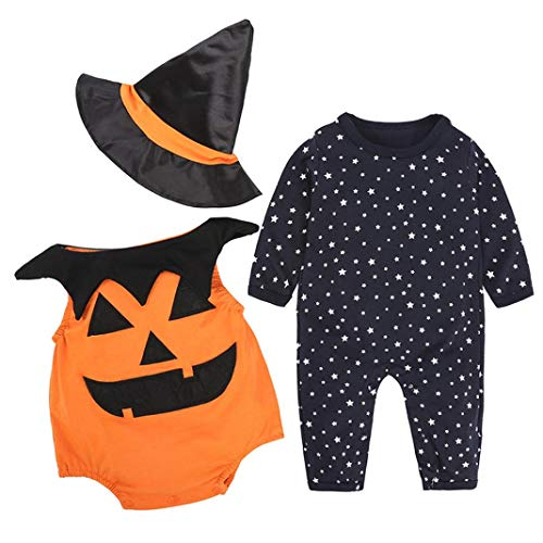 Halloween Disfraz Bebe Ropa Fossen Recién Nacido Niño Niña Calabaza Mono + Sombrero de Bruja 3PC/ Conjunto Otoño Invierno Ropa (6-12 Meses, 01)