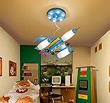 dybling Creative Living Schlafzimmer Esszimmer Moderne und einfache Kinder Jungen Lampe LED LED Eye Kronleuchter Flugzeug Cartoon Schaltet sich Deckenmontage 62 * 49cm bleu clair
