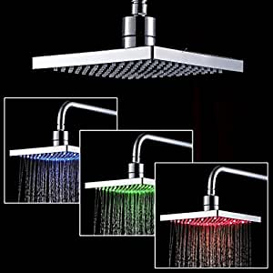 auralum led rvb t te de douche pluie t te de douche pommeau de douche pluie douche bain. Black Bedroom Furniture Sets. Home Design Ideas