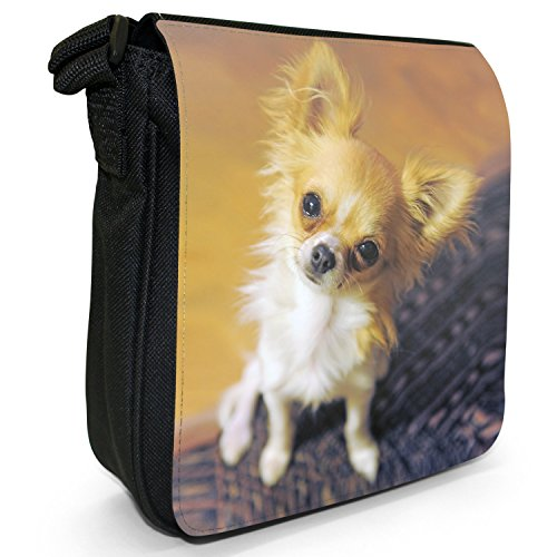 Messicano Taco Bell cane Chihuahua Piccolo Nero Tela Borsa a tracolla, taglia S Furry Puppy Eye Dog Looking Up