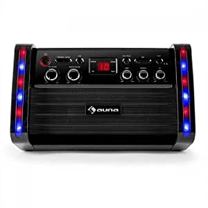 auna DiscoFever • Karaoke per bambini • Karaoke • Kit karaoke • incluso 1 microfono dinamico • 2 connessioni microfono • CD+G-Player • 1 CD Karaoke • Uscita video • Uscita audio • nero