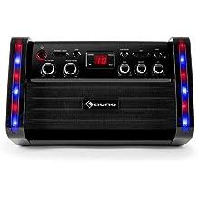 auna Disco Fever equipo karaoke portátil (micrófono incluido, lector CD, efecto luz multicolor, fuente de alimentación a pilas opcional) - negro