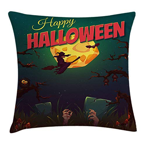 ZTLKFL Halloween Throw Pillow Cushion Cover, Happy Halloween Poster Design Witch on Broom Mushroom Dead Resurgence Vintage, Decorative Square Accent Pillow Case, 18 X 18 inches, Multicolor (Friends Halloween Happy De Tree)