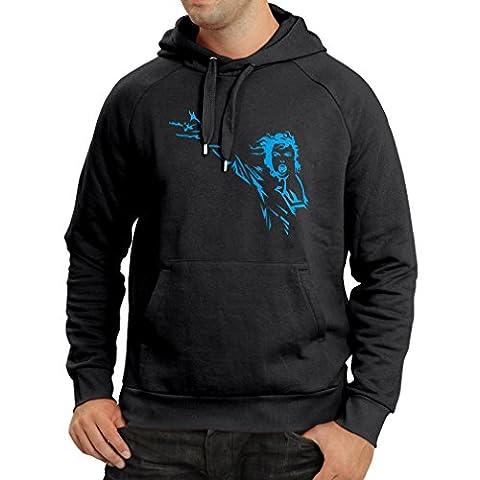 N4121H Sweatshirt à capuche manches longues I aiment MJ, t-shirt du ventilateur, Fruit of the Loom (XXX-Large Noir