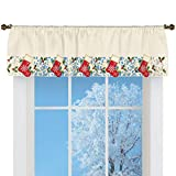 Collections Etc Christmas Stockings Window Valance Curtain Elegant Cut Work, Detailed Embroidered Red Green and Gold Art Home Decoration