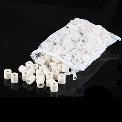 QUCHENG Anneaux Bio en céramique de Filtration pour Tous Les Types d'aquariums et bassins (Blanc 1000g)