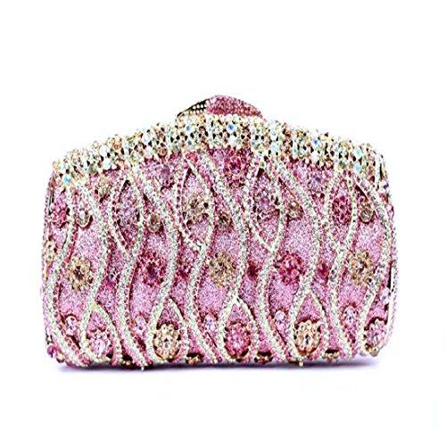YILONGSHENG Femmes Sacs-pochettes bling fleur embrayage sac à main strass cristal soir (Gold) Pink