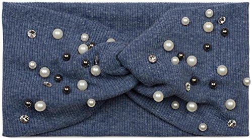 styleBREAKER Haarband in Feinripp Optik mit Schleife, Strass und Perlen, Stirnband, Headband, Damen 04026011, Farbe:Jeansblau