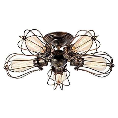 Retro Ceiling Light Vintage Style Industrial Semi-Flush Mount Indoor Lighting 5-Light Oil Rubbed Bronze Wire Cage Home Ceiling Light Fixture