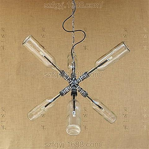 Six Water Bottle Jar Pendant Light Chandelier Glass Bottle Bedroom