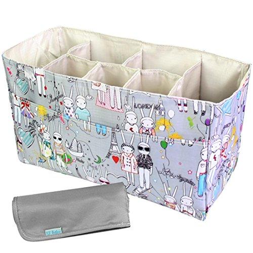 kf-baby-diaper-bag-insert-organizer-14-x-64-x-8-inch-gray-diaper-changing-pad-value-combo