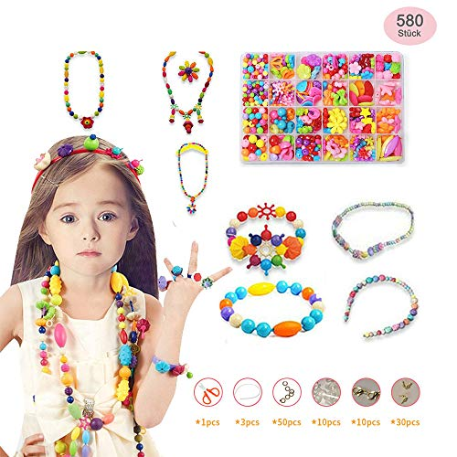 BSET BUY 580 Stück Auffädeln Schmuck Perlen Acryl Perlen Zubehör mit Kunststoff-Box, 24 Arten für Kinder und Erwachsene DIY für Halskette Armbänder Stirnband Ring Perlen