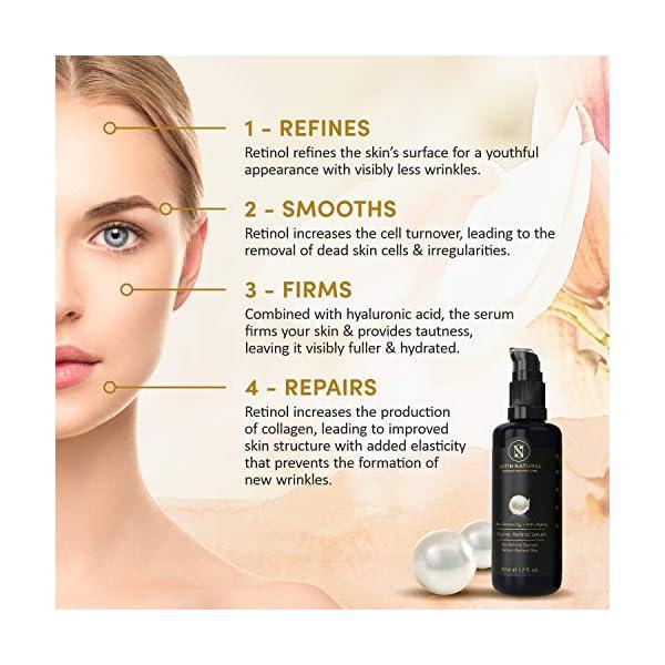 GANADOR 2020* Serum Facial de Retinol ORGÁNICO con Acido Hialuronico 50ml – Sistema 3% Retinol de Liberación Sostenida + 25% Vitamina C y Aloe Vera – Hidratante Facial para Mujer Contorno de Ojos