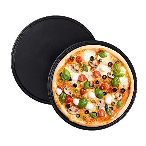 Relaxdays Pizzablech, 2er Set, rund, antihaftbeschichtet, Pizza & Flammkuchen, Carbonstahl, Pizzaform, ∅ 32 cm, grau
