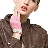 Nappaglo Damen Lederhandschuhe für fahren Halbfinger fingerlose Handschuhe für Fahren Outdoor Motorrad Radfahren Handschuhe (S (Umfang der Handfläche:17.6cm), Rosa)