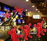 Unigear Wein Stopper und Flaschenöffner Set, drei niedlichen rot Herren Neuheit Flaschenöffner, Korkenzieher und Stopper, perfekt Gag Geschenke Kollektion (Rot) -