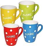 alles-meine.de GmbH 4 Stück _ Henkeltassen / Kaffeetassen -  Punkte - BLAU & weiß  - incl. Name - groß - 300 ml - Mikrowellengeeignet - Porzellan / Keramik - Teetasse - Trinkta..