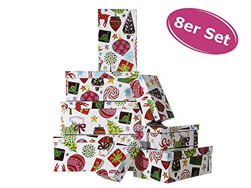 8er Set Geschenkbox Weihnachten - Geschenkkarton, Geschenkverpackung Coloured X-Mas, Geschenkschachtel