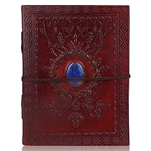Zap Impex® Agenda, diario e quaderno per appunti realizzato in cuoio con pietra dura, perfetto come idea regalo, dimensioni 18 x 14 cm