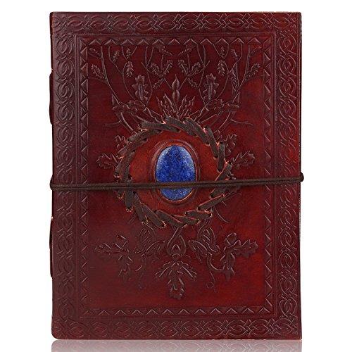 Zap Impex Agenda, diario e quaderno per appunti realizzato in cuoio con pietra dura, perfetto come idea regalo, dimensioni 18 x 14 cm