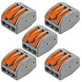 5 Stück - 3 Wege WAGO Hebelverbinder - Elektrischer Steckklemmenblock - Wiederverwendbare Beleuchtung Abzweigklemme - 0,08 mm2 - 4 mm2 Stromkabel - 222-413 - 400 V max Federarm Drahthalter